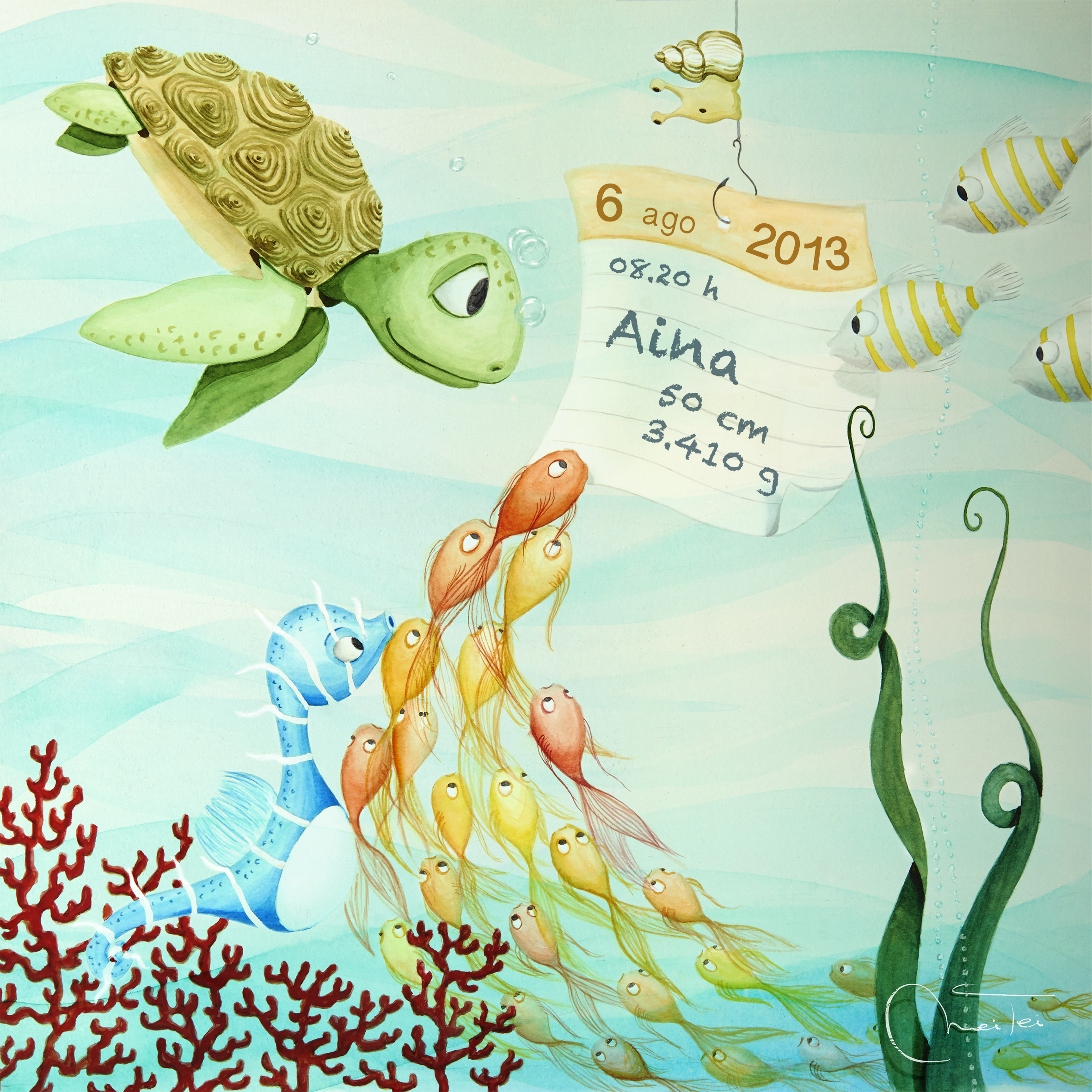 Birth gift: sea bottom illustration