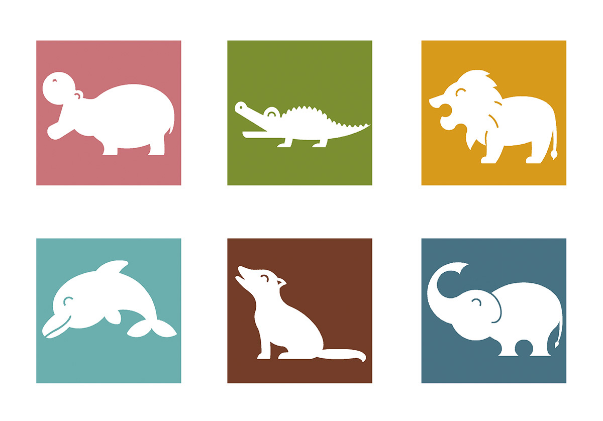 pictogramas de animales en color
