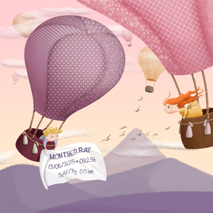 newborn gift illustration with airballoons