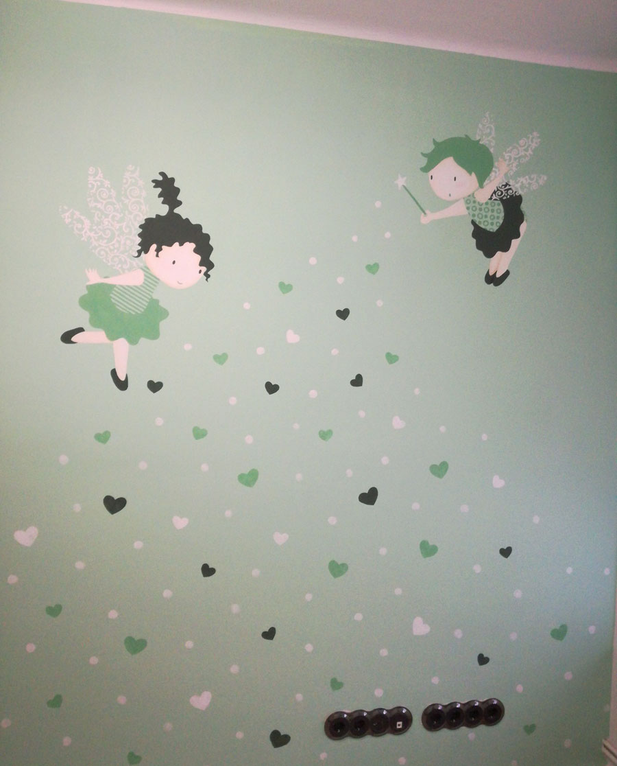 Green fairy mural painting